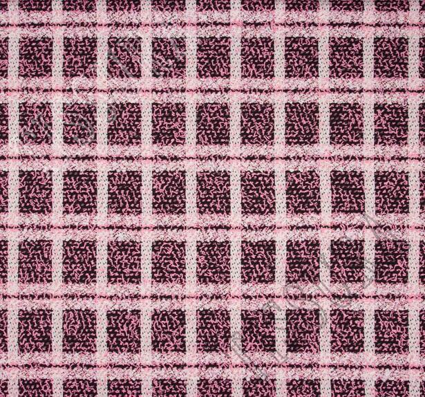 Буклированный твид в стиле «Шанель» в розовую клетку #3