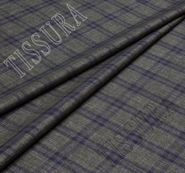 Шерсть с шелком серо-зеленого цвета в синюю клетку, особая окраска отдельных нитей создает «джинсовый» эффект #1