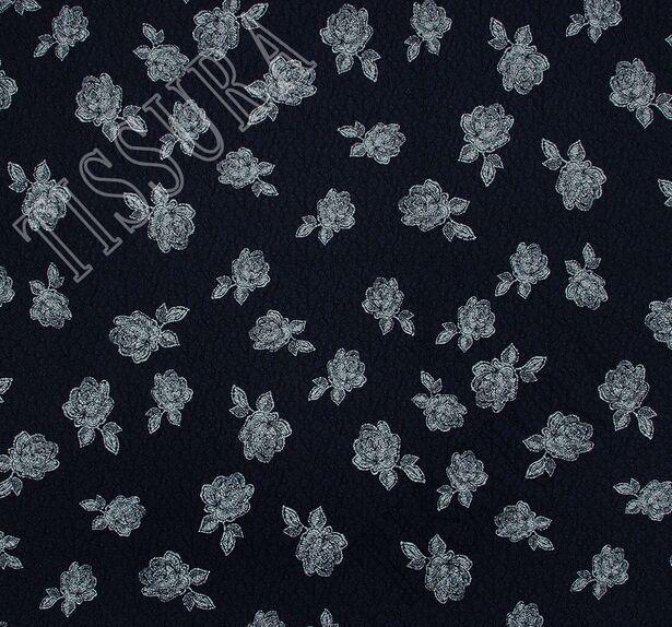 Жаккард темно-синего оттенка с цветами #3