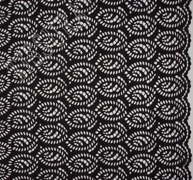 Батист черного цвета из 100% хлопка в технике «ришелье» #2