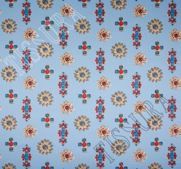 Атлас-стрейч с драгоценными украшениями на голубом фоне #2