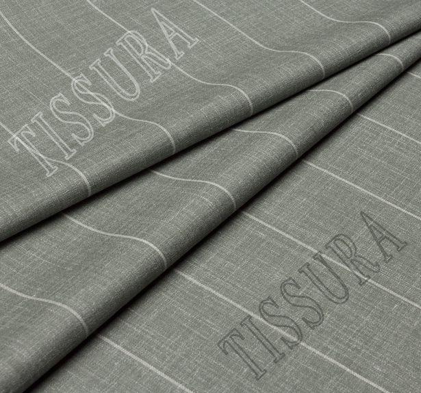 Двусторонняя шерсть из мериносовой шерсти, шелка и льна оливкового цвета в серую полоску #2