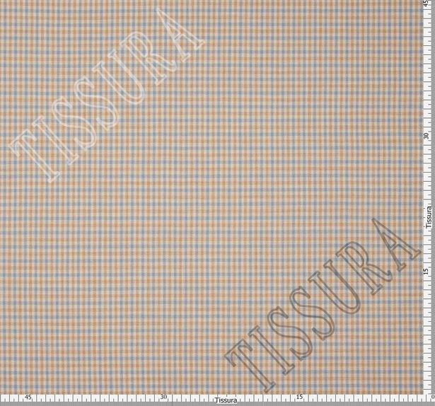 Костюмная ткань двусторонняя с эластаном: мелкая клетка на бежевом фоне и сиренево-серого цвета #2