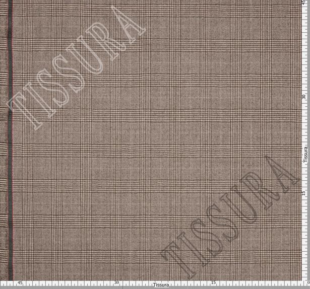 Костюмная ткань из шерсти Pecora Nera® в бежево-коричневую клетку «Принц Уэльский» #3