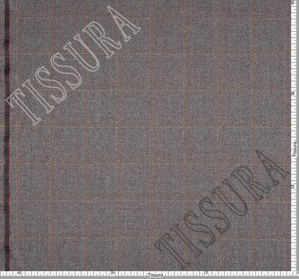 Костюмная ткань из шерсти в коричневую клетку на сером фоне #3