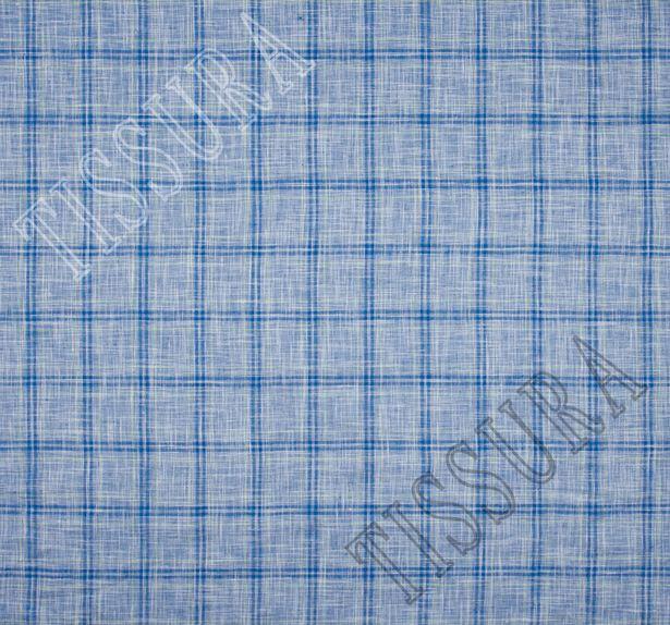 Лён - полотно синего цвета в клетку салатового и темно-синего цветов #2