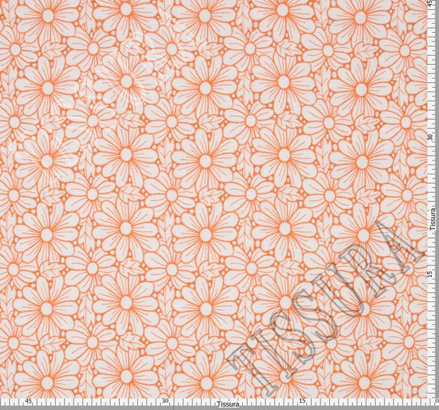 Поплин белого цвета с оранжевой вышивкой в виде ромашек #2