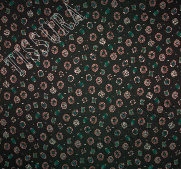Жаккард темно-зеленый с изображением драгоценных камней #3