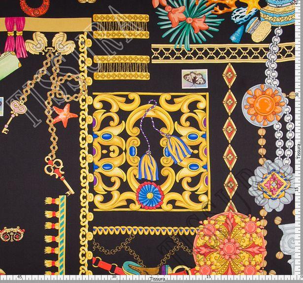Шелковый атлас. На черном фоне украшения, шляпки, флакончики духов #3