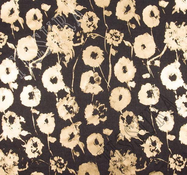 Ткань из 100% хлопка: на черном фоне золотистое напыление в виде принта с цветами (анемонами) #3