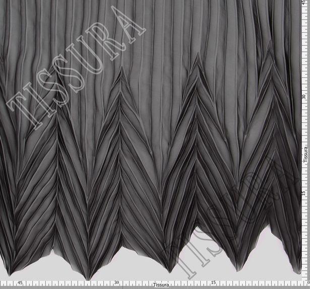 Шифон-плиссе, готовый плиссированный фрагмент «полусолнце» из легкого черного шифона #4