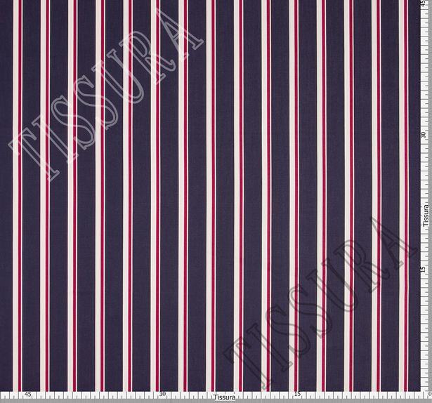 Твил-люкс в полоску из 100% хлопка – белые и красные вертикальные полосы на темно-синем фоне #3
