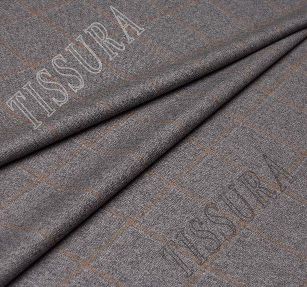 Костюмная ткань из шерсти в коричневую клетку на сером фоне #1