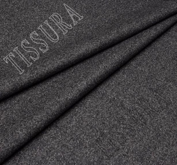 Пальтовая ткань двусторонняя с одной стороной в темно-серую «ёлочку», с другой черного оттенка #4