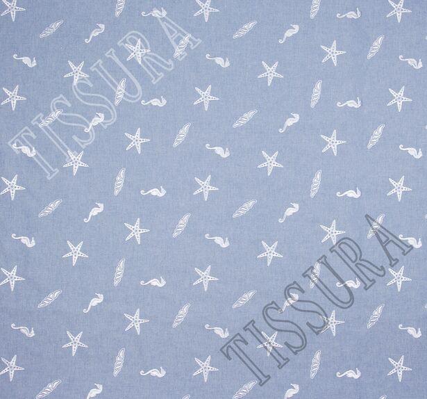 Хлопок голубой с вышивкой в виде звёзд и морских коньков #3