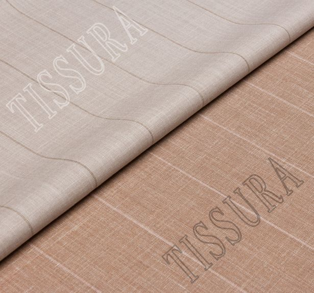 Шерсть двусторонняя из мериносовой шерсти, шелка и льна светло-коричневого цвета в бежевую полоску #1
